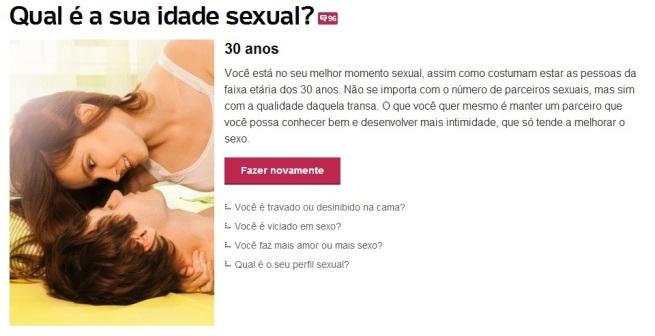 resultado teste qual é a sua idade sexual