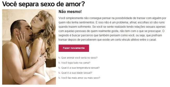 resultado teste vc separa sexo de amor